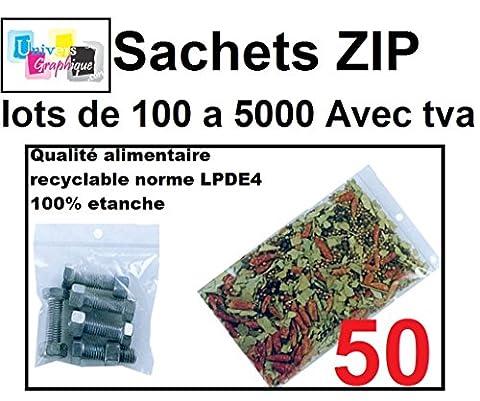 lot de 50 Sachets 200 x 300 mm fermeture zip Transparent. Sachet fermeture zip 20 x 30 cm 50u sac plastique compatible alimentaire et congélation de marque UNIVERS GRAPHIQUE REF UGS19-50. Facture avec T.V.A