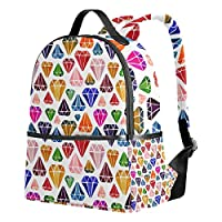 Ahomy School Backpacks Colorful Diamond Pattern Rucksack Shoulder Bags for Girls Boys