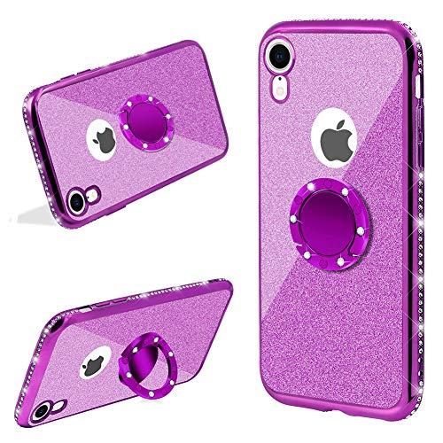 LCHDA Für Handyhülle iPhone X/iPhone XS Glitter mit Ring Halter Kickstand,Lila Bling Bling Funkeln Diamant Strass Bumper Transparent Hardcase Stoßfest Schutzhülle Hülle Für Mädchen (Strass-feuerzeug-hülle)