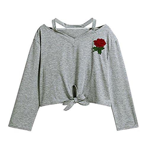 Felpe Tumblr Ragazza, Faith Wings Fashion Design Donna Manica Lunga Felpa Rosa Stampa Casual Tops Magliette Tumblr Grigio