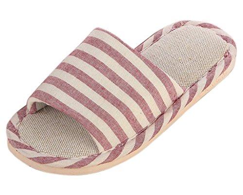 Minetom Femme Hommes Classique rayure Intérieure Coton Lin Maison Chaussons Pantoufles Confortables Sandales