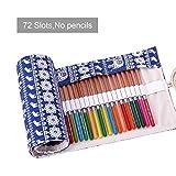 Leinwand Stifterolle für 72 Buntstifte und Bleistifte, Stifteetui Roll-up Mäppchen(blau elefanten)