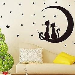 ufengke® Hermosas Estrellas Gatos Luna Pegatinas de Pared, Vivero Habitación de Los Niños Removible Etiquetas de La Pared / Murales