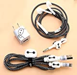 #9: 6-in-1 Multi COMBO Spiral Cable Protectors + Earphones Winder + Sticker + Cable Clips + Earphone Jack Clip (Design 1)