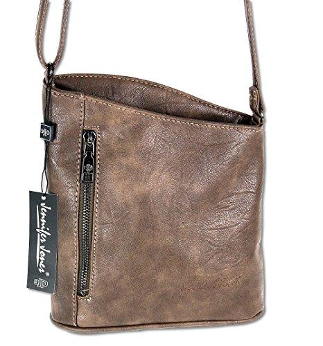 Jennifer Jones Taschen Damen Damentasche Handtasche Schultertasche Umhängetasche Tasche klein Crossbody Bag taupe (3107) Taupe