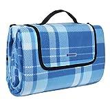 SONGMICS 200 x 200 cm XXL Picknickdecke Fleece wärmeisoliert wasserdicht mit Tragegriff Outdoordecke GCM71B