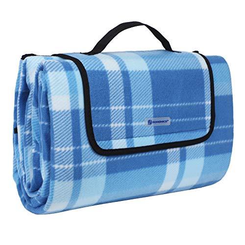 SONGMICS 200 x 200 cm XXL Picknickdecke Fleece wärmeisoliert wasserdicht mit Tragegriff (Quadrate blau gestreift) -