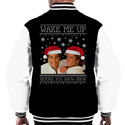 Men's Varsity Jacket Wake Me Up Before You Snow Snow Wham Christmas Knit