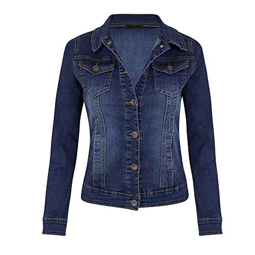 Fanxing Damen Kurze Jeansjacke Lässige Mantel Langarm Pocket Button Denim Jacket Coat (Dunkelblau, XL) Distressed Denim Jacket