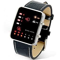 Internet Digital Red LED Sport Wrist Watch Binary Wristwatch PU Leather Women Mens