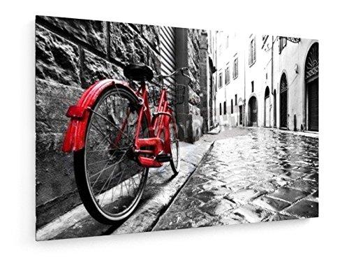 Moto rossa sulla strada di ciottoli in una vecchia città - 120x80 cm - weewado - Belle stampe d'arte tela - arte della parete - Artista
