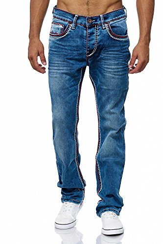 MEGASTYL Herren Männer Jeans Basic Streetwear Dicke Nähte Regular Fit, Größe:W30 / L32, Farbe:Blue 3