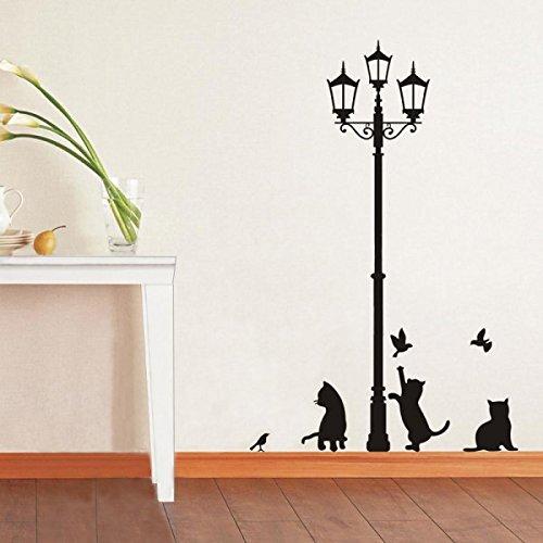 Adesivo decorativo con gatti e lampione sticker murale da parete 70 x 50 cm. mws