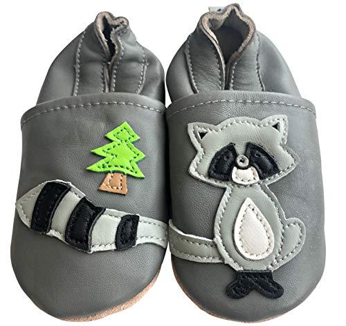 Engel und Piraten Krabbelschuhe - MARKENQUALITÄT viele Motive bis 4 Jahre Babyschuhe Leder Babyhausschuhe Lauflernschuhe Lederpuschen (18/19 EU, Waschbär)
