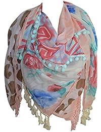 1f7acf0efb82 KARL LOVEN Foulard Femme Ethnique motifs ethnique à Franges et Pompon -  étole - pashmina -