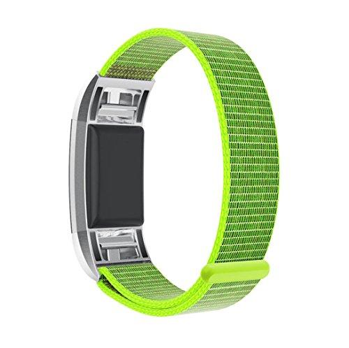 Preisvergleich Produktbild Fitbit Charge 2 armband,  SHOBDW Neuankömmling Luxus Nylon Sport Laufen Uhr Armband Handgelenk Band Strap für Fitbit Charge 2 (130-220MM,  Grün)