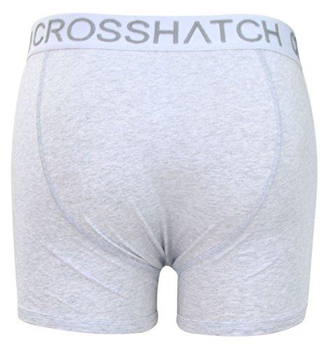CrossHatch Herren Boxershorts Checkham, 3er Pack Causeway - Grey Marl
