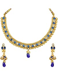 Dancing Girl Bridal Wedding Blue Metal Alloy Jewellery Set With Necklace And Earring For Women