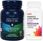 GNC Triple Strength Fish Oil, 60 softgels and Women's Ultra Mega One Daily Multivitamin - For Healthy Hair