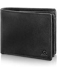 KRONIFY RFID Geldbeutel Zeus mit Doppelscheinfach aus Rindsleder – TÜV geprüft – 14 Kartenfächer – Edle Geschenkbox – NFC Schutz