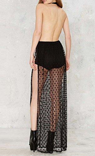 Bigood Robe Dos Nu Femme Tulle Col V Profond Sans Manche Etoiles Imprimé Transparent Noir