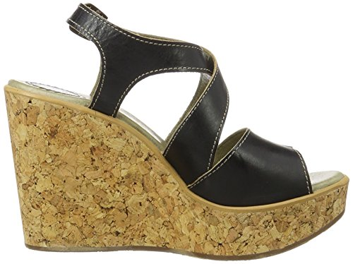 FLY London Damen Heva977fly Plateau Sandalen Schwarz (Black 000)