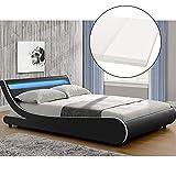 ArtLife Polsterbett Valencia komplett mit Kaltschaum-Matratze, Lattenrost und LED Beleuchtung im Kopfteil | 180 x 200 cm | schwarz | Bett Bettgestell