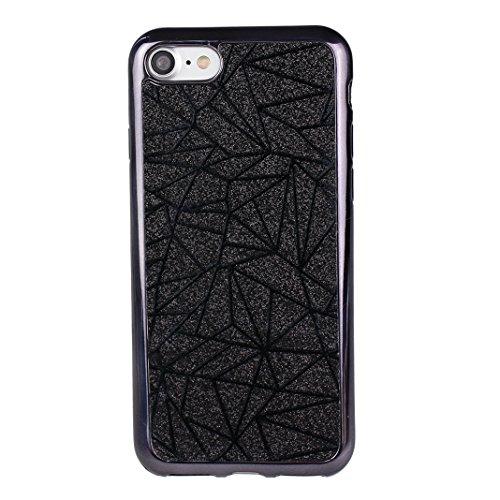 iPhone 7 Schale 4.7 Zoll Glitter Case, iPhone 8 Hülle Glitzer, iPhone 7 Hülle Glitzer, Moon mood® Kristall Sparkle Schutzhülle für Apple iPhone 7/8 mit Streifen Thin Dünn Weich TPU Schutz Etui Cover,  2PCS-4