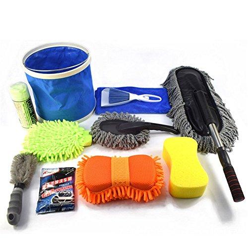 WGE 11-Teiliges Auto-Reinigungs-Kit, Reinigungsbürste, Felgenreiniger Für Auto, Motorrad Oder Fahrrad-Reifen-Bürsten-Wäsche-Werkzeug-Autowaschanlage-Haus-Kombi-Reinigungszubehör
