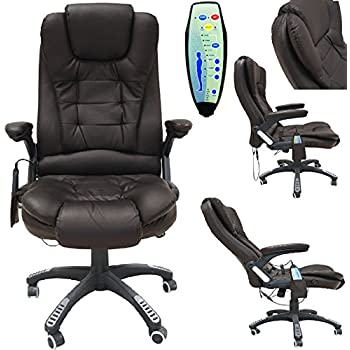 OFFICE DELUXE RECLINING COMFORT LUXURY LEATHER EXECUTIVE 6 POINT MASSAGE CHAIR PU WITH 360 SWIVEL AND HEIGHT ADJUSTMENT BROWN