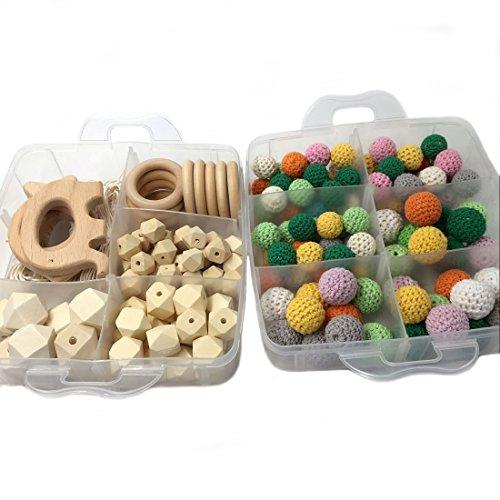Coskiss Combinación de bricolaje joyería de enfermería del paquete de los granos redondos naturales ganchillo Blending bolas de madera geométricos de madera anillo de la libertad creativa (S501+S503)