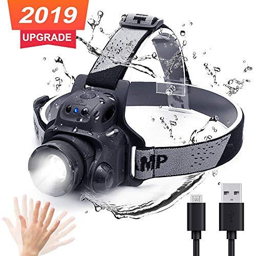 N N.ORANIE LED Stirnlampe Wasserdichte Kopflampe USB Wiederaufladbare 300 Lumen 100 M Reichweite für Outdoor Camping Laufen Joggen Radfahren Stirnlampen