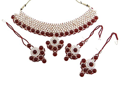 Collier Boucles Bollywood Cz Pierres Traditionnelle Indienne Ensemble De Bijoux Cadeau Pour Elle rouge