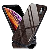 iPhone XS Tempered Glass Case Wooden Pattern Slim Fit Cover Anti-Scratch Shockproof Drop Protection Bumper (Black)