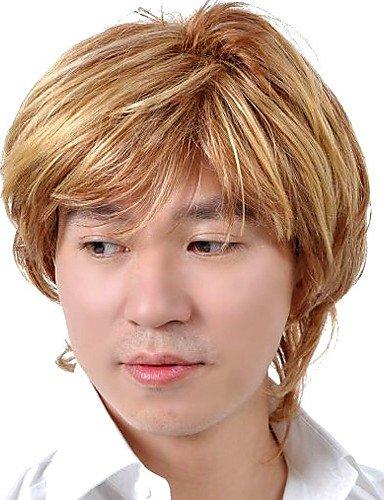 BBDM capless courte synthèse de haute qualité perruque blonde cheveux plats hommes 0463-460