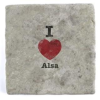 I Love Alsa - Single Marble Tile Drink Coaster