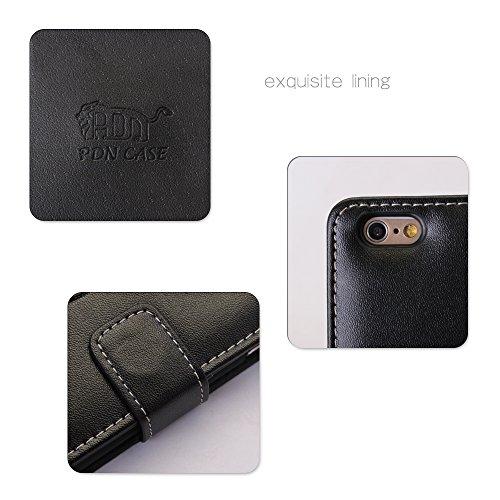 Pdncase iPhone 6 Genuine Leder Tasche Case Hülle Wallet Style Schutzhülle für iPhone 6 Farbe Schwarz Schwarz