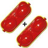 2 x Eierbehälter Eierträger 2-fach mit Salzstreuer und Löffel rot/gelb