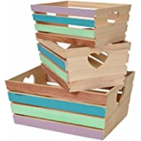 ts-ideen Set 3 cassette decorative colorate Porta Oggetti Libri Dischi in legno stile Vintage