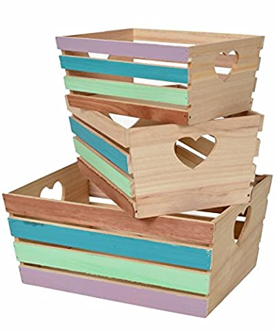 ts-ideen 11912 Set ensemble 3 boxes fruit baskets stackable toys commode chest dresser bedside table shabby vintage multi-coloured heart shelf shelves cupboard storage organizer box keeper
