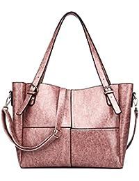 HAOYUXIANG Sac à main simple dame sac à main mode huile cire en cuir unique sac à bandoulière haut de gamme sac à main (Couleur : Maroon)