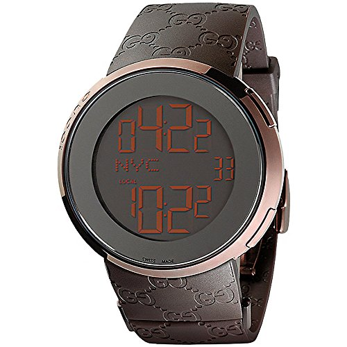 GUCCI Men's I-GUCCI 44MM Rubber Band IP Steel CASE Swiss Quartz Watch YA114209