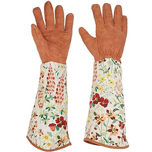 Chengsan Leder Rose Beschneiden Gartenhandschuhe pannensicher Yard Arbeitshandschuhe Thorn Proof Handschuhe Velourslederimitat Unisex für Herren und Damen Gärtner Plant Care, 1, 1
