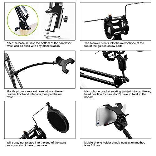 Studio Rundfunk Mikrofon Mic Aussetzung Boom Scissor Arm Ständer, Vegbirt Verstellbar Aufnahme Kondensator Mikrofon Ständer mit Pop-Filter und Handy Ständer - 7