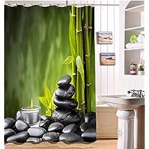 LB 180x180cm Tela de Poliéster de Baño Cortinas con 12 Ganchos | Vela clara y bambúes verdes, meditación de la yoga Zen Paisaje de la naturaleza | Diseño de Resistente al Agua Mildew-Resistant Cortinas de Ducha para Baño Decoración