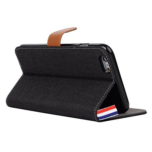 Phone case & Hülle Für IPhone 6 Plus / 6s Plus, Denim Texture Horizontale Flip Leder Tasche mit Card Slots & Halter & Lanyard ( Color : Baby Blue ) Black