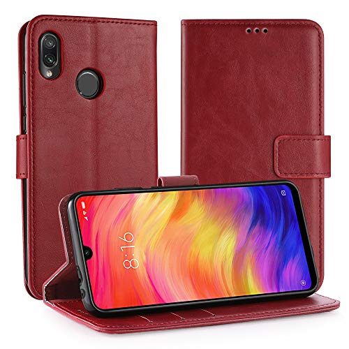 Simpeak Hülle für Xiaomi Redmi Note 7 / Redmi Note 7 Pro/Redmi Note 7S Rot [6,3 Zoll], Case Cover für Redmi Note 7 flipcase [Kartensteckplätze] [Stand Feature] [Magnetic Closure Snap] Rot Cover Case Snap