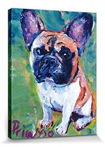 1art1 Perros - Retrato De Un Bulldog Francés Cuadro, Lienzo Montado sobre...