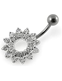 Piercing India Clear Crystal Stone Fancy Tribal Sun 925 Sterling Silver Belly Ring Body Jewelry
