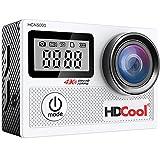 HDCool Action Kamera 4K Wifi mit 170 Wasserdichte Sport kamera Grad Ultra-Weitwinkelobjektiv for HCN5000, 2,0 Zoll LCD Display mit 0,96 Zoll Frontscheibe, inklusive 2 Batterien